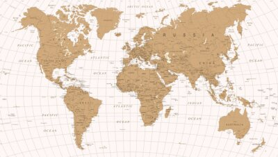 Poster World Map Vintage Vector