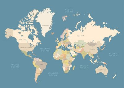 Poster Highly detailed world map with labeling. Сountries in different color