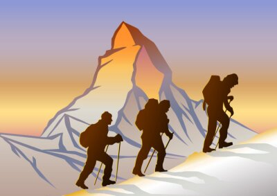 Poster Matterhorn ve Dağcılar