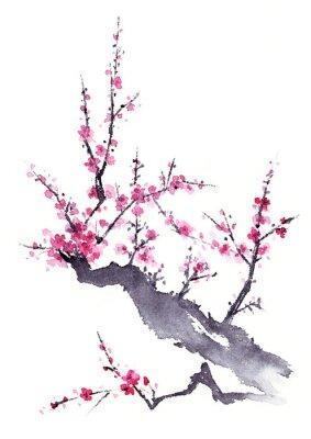 Poster 梅 水墨画