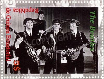 Poster REPUBLIC GUINEA ECUTORIAL � CIRCA 2003 : The Beatles  - 1980s famous musical pop group.