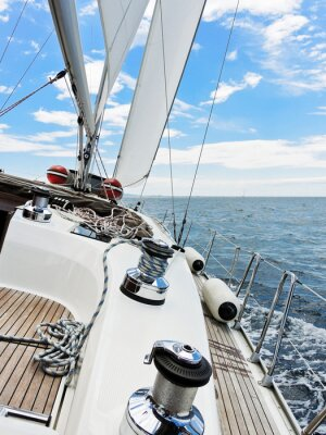 Poster yacht is tacking in Adriatic sea