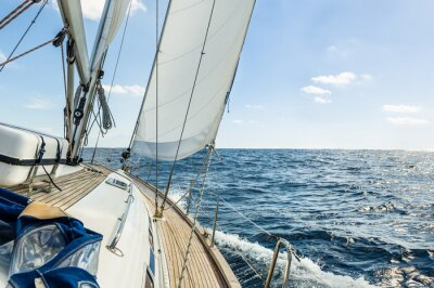 Poster Yacht sail in the Atlantic ocean at sunny day cruise