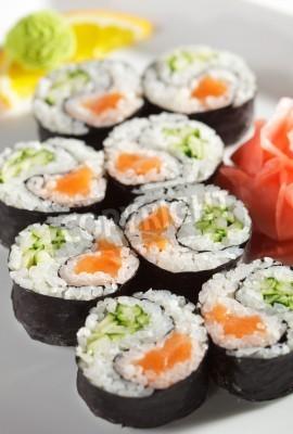 Poster Yin Yang Maki Sushi - Roll made of Fresh Salmon and Cucumber inside. Nori Outside
