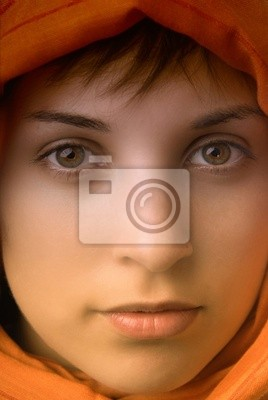 young beautiful casual woman, close up portrait