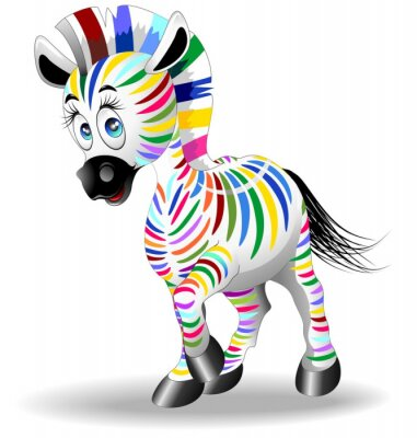 Poster Zebra Cartoon four-color Four - Color Process - Zebra Vector