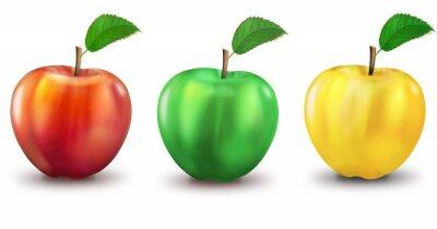 Sticker 3 Äpfel rot, grün, gelb, freigestellt
