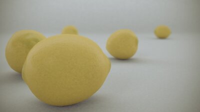 Sticker 3 D render of Yellow lemons on a white background fell from  air and rolled on the white infinite surface.