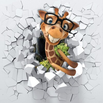 Sticker 3d background, little giraffe peeping from a broken wall. 3D wall looks very lovely and also brings different colors to room! It will visually expand children's room, become an accent in the interior