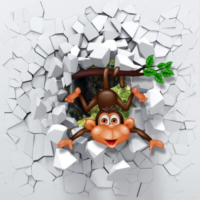 Sticker 3d background, little monkey peeping from a broken wall.3D wall looks very lovely and also brings different colors to room! It will visually expand children's room and become an accent in the interior