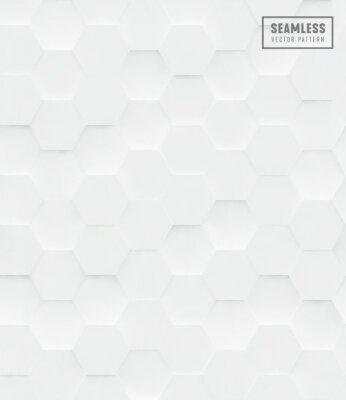 Sticker 3d Hexagon polygonal seamless vector pattern, white geometric business background