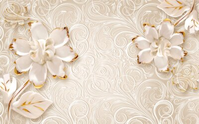 Sticker 3d illustration, beige ornamental background, large white abstract gilded flowers