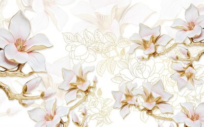 Sticker 3d illustration, light background with the contours of peonies, large gilded pink magnolia flowers