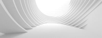 Sticker 3d Illustration of White Circular Building. Modern Geometric Wallpaper. Futuristic Technology Design