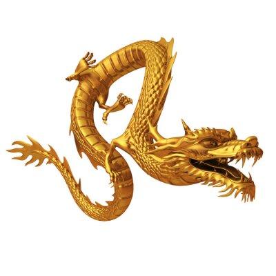 Sticker 3d render of golden dragon