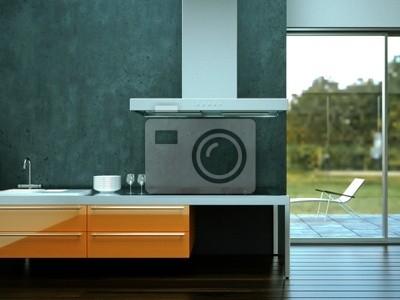 Sticker 3D rendering of kitchen gray orange