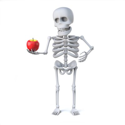 Sticker 3d Skeleton has brought an apple for teacher