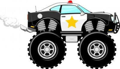 Sticker 4x4 monstertruck police car cartoon