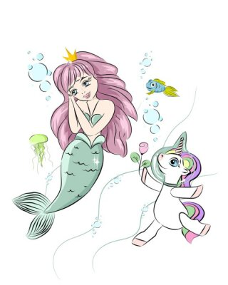 Sticker A beautiful mermaid and a unicorn. The unicorn swims with a mermaid and gives her a flower. Postcard with a mermaid. Style doodle. Print for t-shirts and baby clothes, cards, posters and any design.