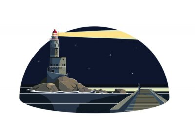 Sticker A man in the seawall looking a lighthouse lightning in the night