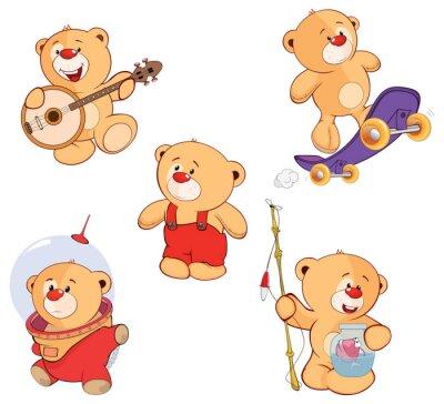 Sticker A set of bears cartoon