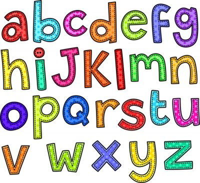 Sticker A stitch style doodle set of hand drawn alphabet letters.