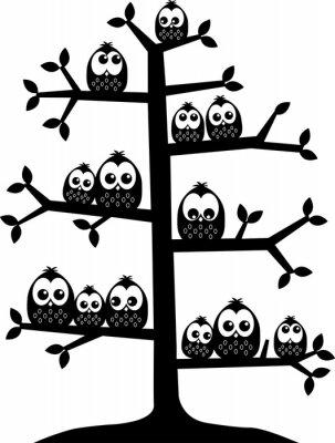 Sticker a tree full of owls