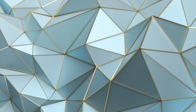 Sticker Abstract 3d rendering of triangulated surface. Modern background. Futuristic polygonal shape. Low poly minimalistic design for poster, cover, branding, banner, placard.