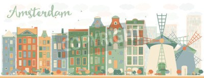 Sticker Abstract Amsterdam city skyline with color buildings. Vector illustration. Business travel and tourism concept with historic buildings. Image for presentation, banner, placard and web site.