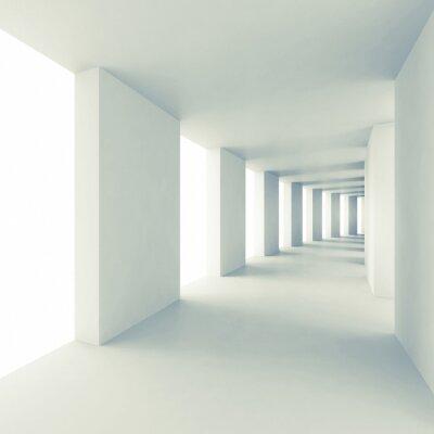 Sticker Abstract architecture 3d background, empty white corridor