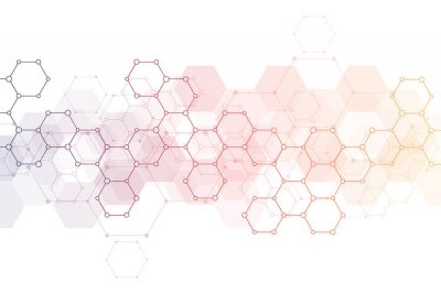 Sticker Abstract background of science and innovation technology. Technical background with hexagons pattern and molecular structures.