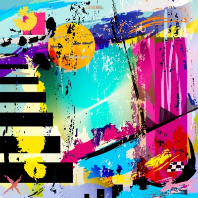 Sticker abstract background, with squares, triangles, paint strokes and
