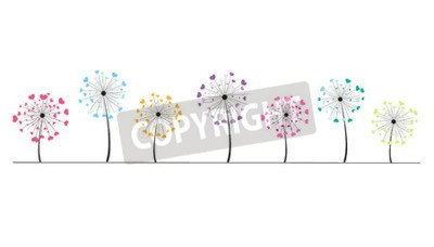 Sticker Abstract colorful heart vector background dandelion spring time