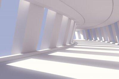Sticker Abstract corridor interior. 3d render illustration