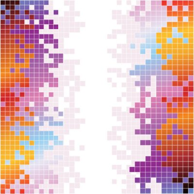 Sticker Abstract digital background with colorful pixels