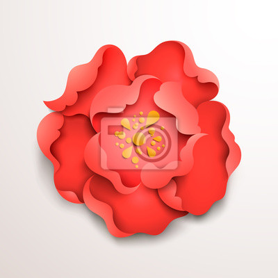 Sticker Abstract floral background. Red paper flower