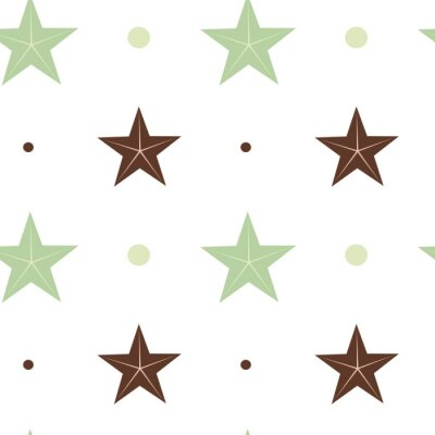 Sticker abstract green and brown stars seamless vector pattern background illustration in scandinavian colors