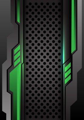Sticker Abstract green dark gray futuristic on circle mesh design modern futuristic background vector illustration.