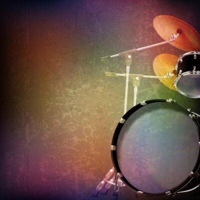 Sticker abstract grunge background with drum kit