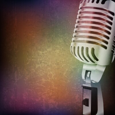 Sticker abstract grunge background with retro microphone