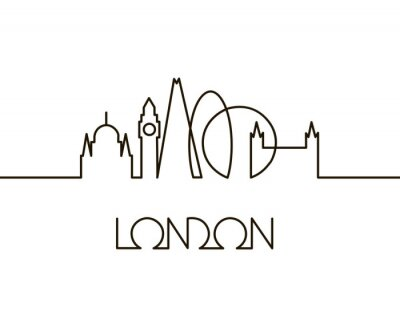 Sticker abstract linear illustration of London city on white background