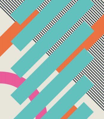 Sticker Abstract retro 80s background with geometric shapes and pattern. Material design.
