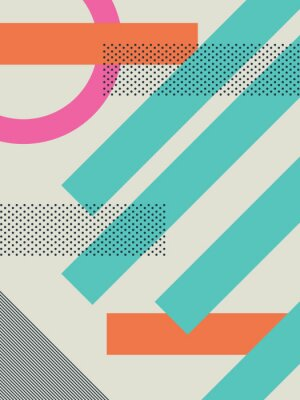 Sticker Abstract retro 80s background with geometric shapes and pattern. Material design wallpaper.