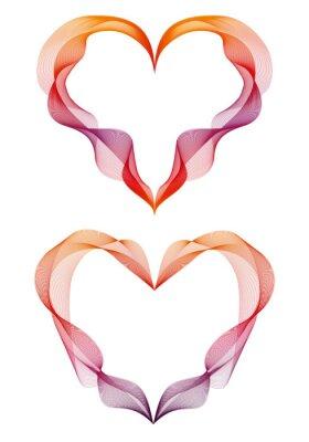 Sticker abstract ribbon hearts, vector