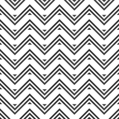 Sticker Abstract seamless pattern of gray zigzag on white background