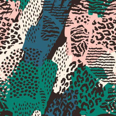 Sticker Abstract seamless pattern with animal print.