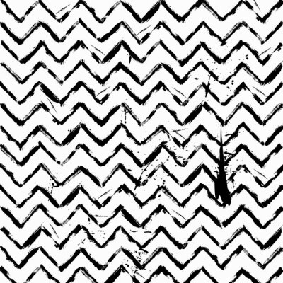 Sticker abstract seamless zig zag pattern black and white