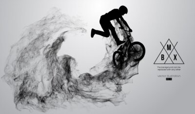 Sticker Abstract silhouette of a bmx rider on the white background from particles, dust, smoke, steam. Bmx rider jumps and performs the trick. Background can be changed to any other. Vector illustration