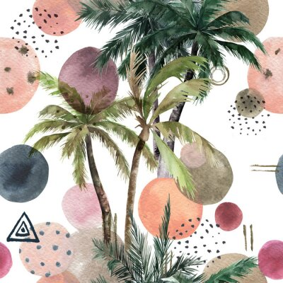 Sticker Abstract tropical pattern with palm trees. Watercolor seamless print. Geometric summer background