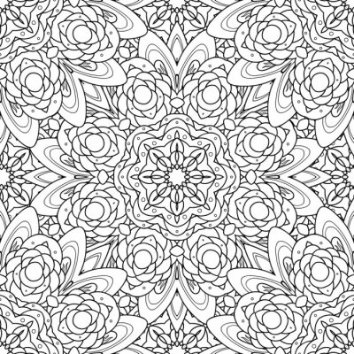 Sticker Abstract vector decorative ethnic mandala black and white seamless pattern.